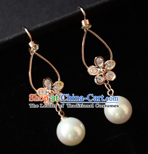 European Western Bride Vintage Accessories Crystal Golden Eardrop Renaissance Earrings for Women