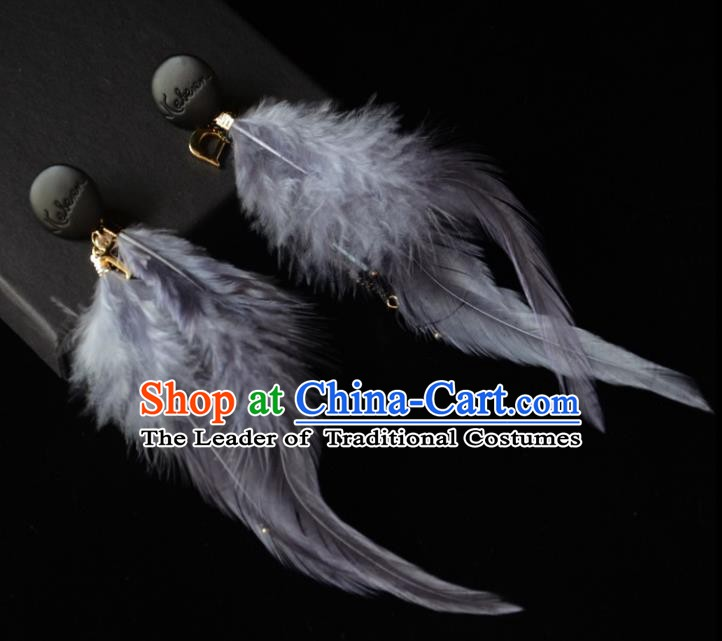 European Western Bride Vintage Accessories Grey Feather Eardrop Renaissance Earrings for Women