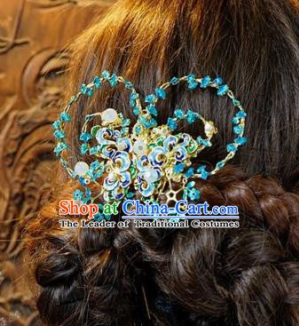 Chinese Handmade Classical Hair Accessories Ancient Hanfu Blue Butterfly Hairpins for Women