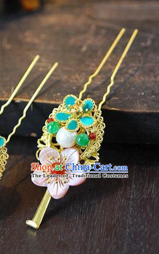 Chinese Handmade Classical Hair Accessories Flowers Hair Clip Ancient Hanfu Hairpins for Women