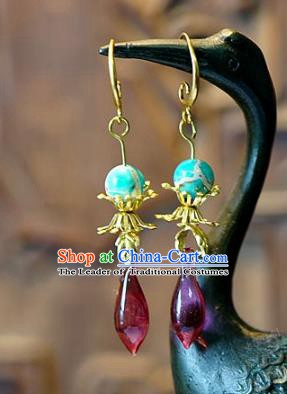 Asian Chinese Traditional Handmade Jewelry Accessories Eardrop Colored Glaze Earrings for Women