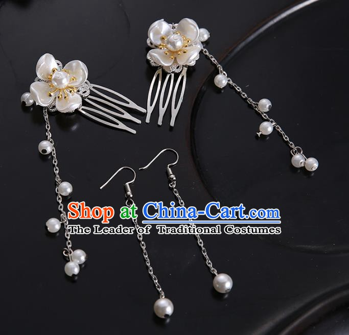 Handmade Chinese Ancient Hair Accessories Pearls Tassel Hair Combs Hairpins for Women