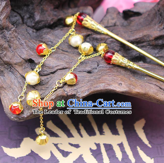 Handmade Chinese Ancient Hair Accessories Red Beads Tassel Step Shake Hairpins for Women