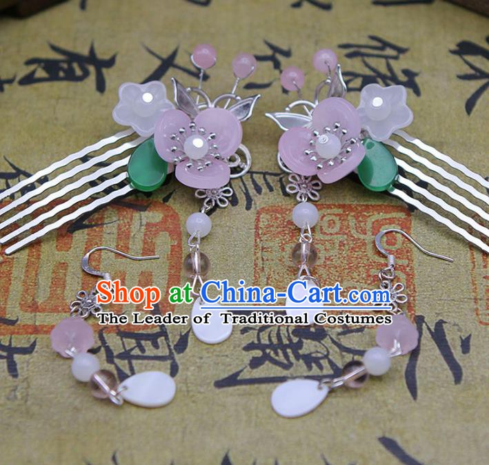 Handmade Chinese Ancient Princess Hair Accessories Pink Flowers Tassel Hair Comb Hairpins for Women