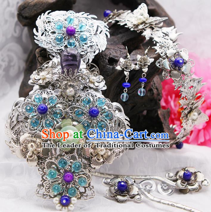 Handmade Chinese Ancient Princess Hair Accessories Step Shake Hairpins Complete Set for Women