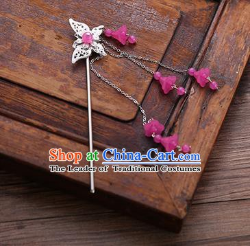 Handmade Chinese Ancient Princess Hair Accessories Butterfly Rosy Tassel Hairpins for Women