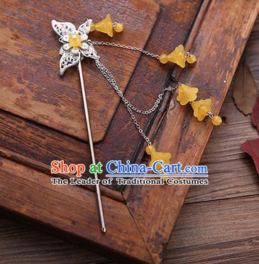 Handmade Chinese Ancient Princess Hair Accessories Butterfly Orange Tassel Hairpins for Women