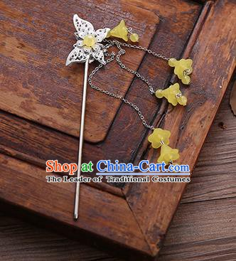 Handmade Chinese Ancient Princess Hair Accessories Butterfly Yellow Tassel Hairpins for Women