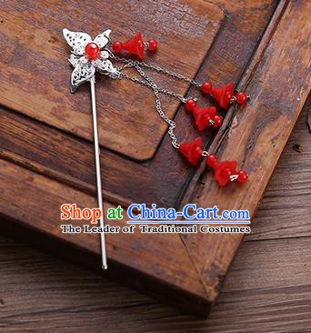 Handmade Chinese Ancient Princess Hair Accessories Butterfly Red Tassel Hairpins for Women