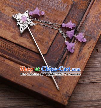 Handmade Chinese Ancient Princess Hair Accessories Butterfly Purple Tassel Hairpins for Women