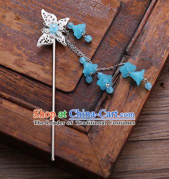 Handmade Chinese Ancient Princess Hair Accessories Butterfly Blue Tassel Hairpins for Women