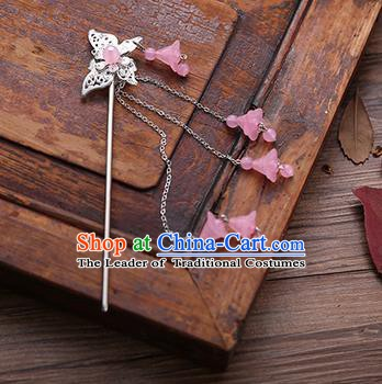 Handmade Chinese Ancient Princess Hair Accessories Butterfly Pink Tassel Hairpins for Women