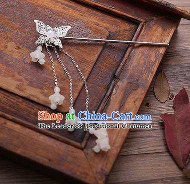 Handmade Chinese Ancient Princess Hair Accessories Butterfly White Tassel Hairpins for Women