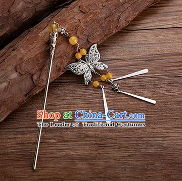 Handmade Chinese Ancient Princess Hair Accessories Orange Beads Butterfly Hairpins for Women