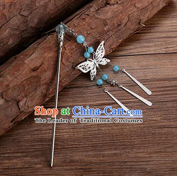 Handmade Chinese Ancient Princess Hair Accessories Blue Beads Butterfly Hairpins for Women
