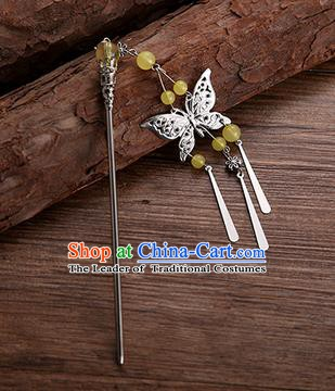 Handmade Chinese Ancient Princess Hair Accessories Yellow Beads Butterfly Hairpins for Women