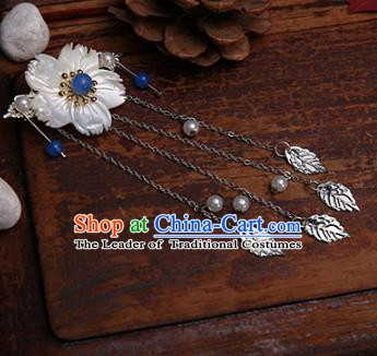 Traditional Handmade Chinese Ancient Classical Hair Accessories Shell Flowers Blue Bead Hairpins for Women