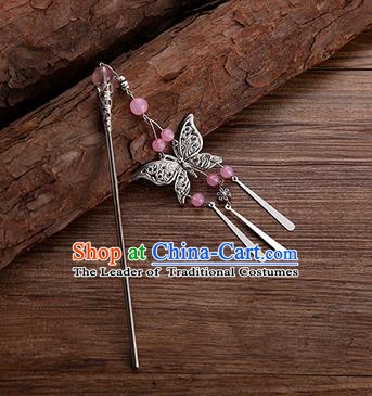 Handmade Chinese Ancient Princess Hair Accessories Pink Beads Butterfly Hairpins for Women