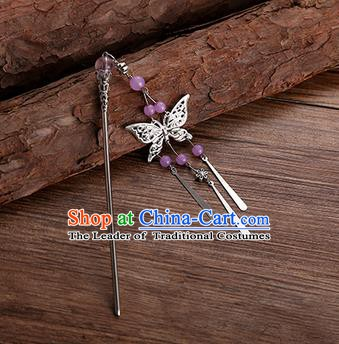 Handmade Chinese Ancient Princess Hair Accessories Purple Beads Butterfly Hairpins for Women