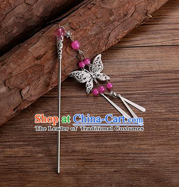 Handmade Chinese Ancient Princess Hair Accessories Rosy Beads Butterfly Hairpins for Women