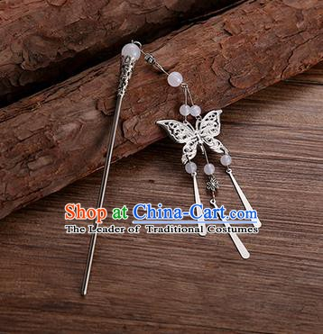 Handmade Chinese Ancient Princess Hair Accessories White Beads Butterfly Hairpins for Women
