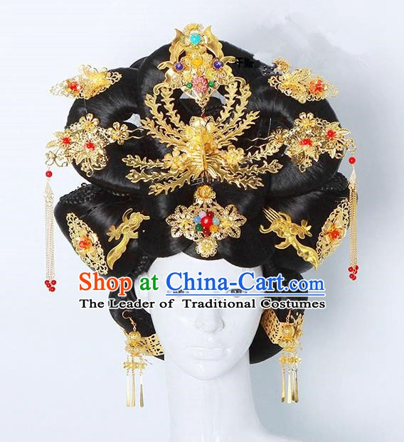 Handmade Chinese Ancient Imperial Concubine Hair Accessories Wig and Hairpins Complete Set for Women