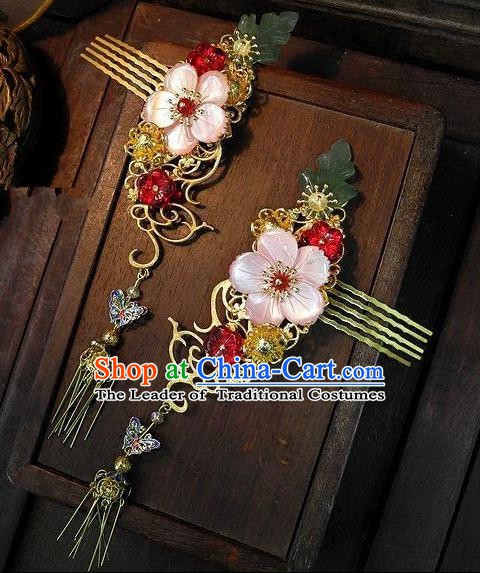Chinese Handmade Classical Hair Accessories Flowers Hair Comb Ancient Hanfu Hairpins for Women