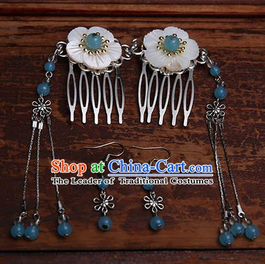 Handmade Chinese Ancient Hair Accessories Blue Beads Tassel Hair Comb Hairpins for Women