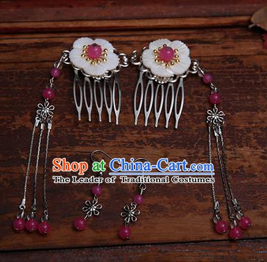 Handmade Chinese Ancient Hair Accessories Rosy Beads Tassel Hair Comb Hairpins for Women