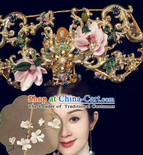 Chinese Handmade Classical Hair Accessories Qing Dynasty Phoenix Coronet Ancient Hanfu Hairpins for Women