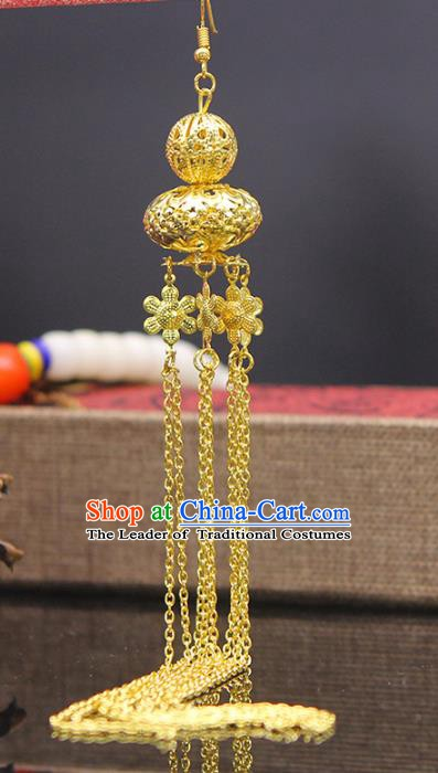 Handmade Chinese Ancient Palace Lady Accessories Golden Tassel Earrings for Women