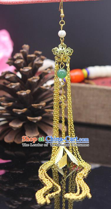 Handmade Chinese Ancient Palace Lady Accessories Golden Flower Tassel Earrings for Women