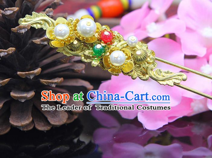 Handmade Chinese Ancient Palace Lady Hair Accessories Hanfu Golden Hairpins for Women