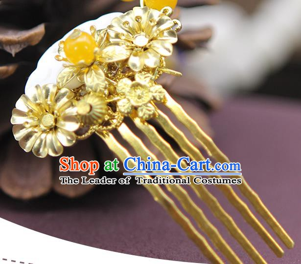 Handmade Chinese Ancient Palace Lady Hair Accessories Hanfu Golden Hair Comb Hairpins for Women
