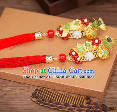 Handmade Chinese Ancient Palace Lady Hair Accessories Hanfu Tassel Hair Stick Hairpins for Women