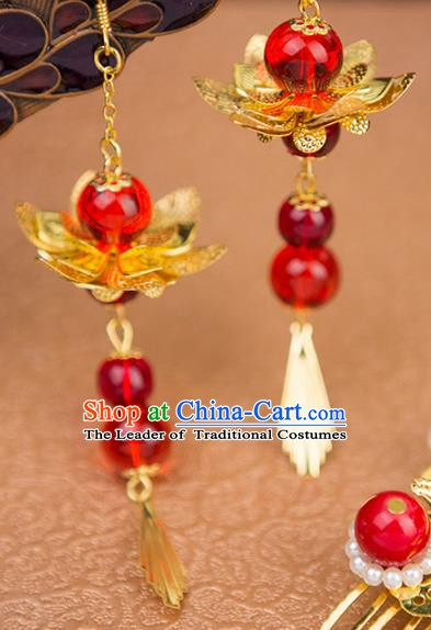 Handmade Chinese Ancient Palace Lady Accessories Hanfu Red Beads Lotus Earrings for Women