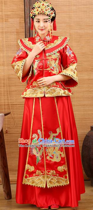Traditional Ancient Chinese Costume Xiuhe Suits Wedding Embroidered Dragon and Phoenix Red Toast Clothing for Women