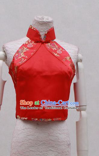 Traditional Ancient Chinese Costume Red Embroidered Cheongsam Blouse Clothing for Women