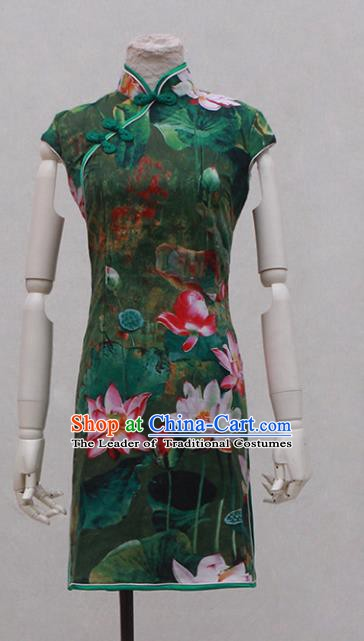Traditional Ancient Chinese Black Qipao Dress Painting Lotus Green Cheongsam Clothing for Women