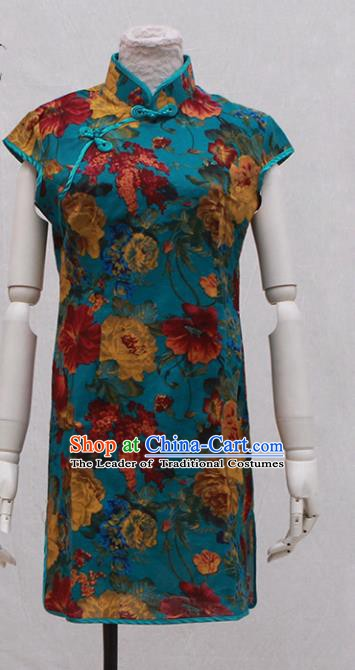 Traditional Ancient Chinese Black Qipao Dress Painting Peony Blue Cheongsam Clothing for Women