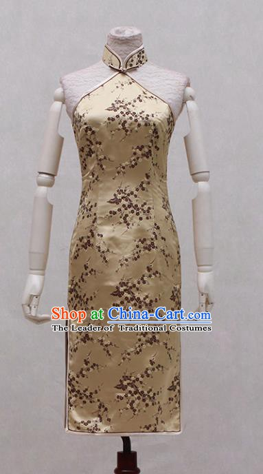 Traditional Ancient Chinese Golden Qipao Dress Painting Peony Cheongsam Clothing for Women