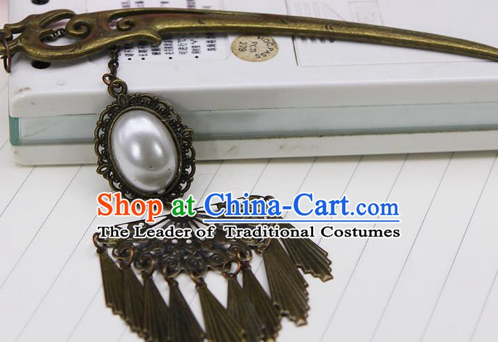 Handmade Chinese Ancient Palace Lady Hair Accessories Hanfu Pearls Tassel Hairpins for Women