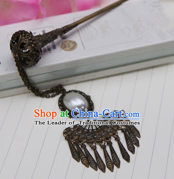 Handmade Chinese Ancient Palace Lady Hair Accessories Hanfu Tassel Hairpins for Women