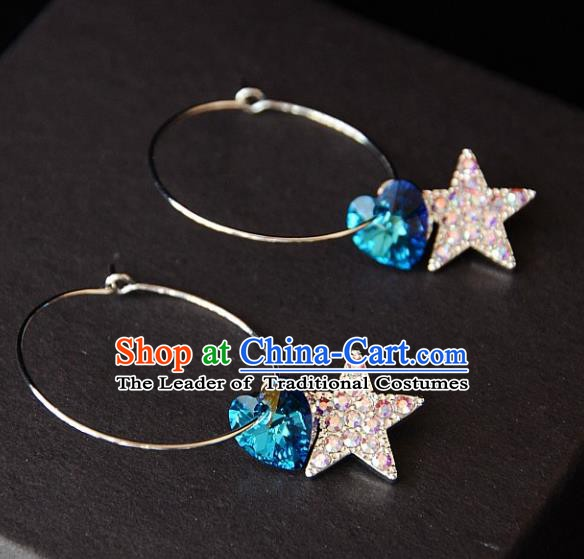 European Western Bride Vintage Crystal Star Eardrop Accessories Renaissance Earrings for Women
