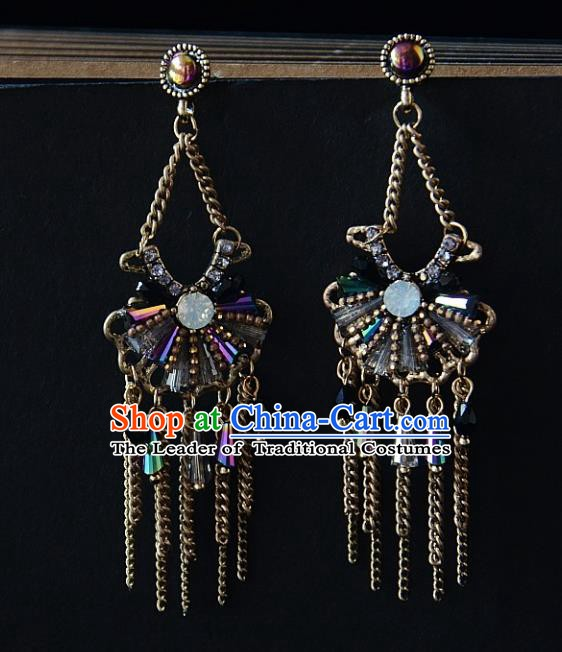 European Western Bride Vintage Sector Eardrop Accessories Renaissance Tassel Earrings for Women