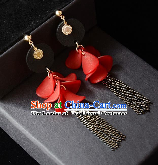 European Western Bride Vintage Red Eardrop Accessories Renaissance Tassel Earrings for Women