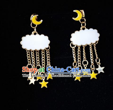 European Western Bride Vintage Moon Cloud Earbob Accessories Renaissance Earrings for Women