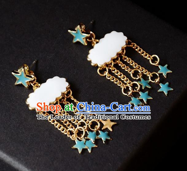 European Western Bride Vintage Stars Cloud Earbob Accessories Renaissance Earrings for Women