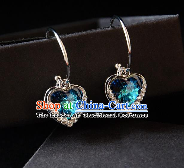 European Western Bride Vintage Blue Crystal Heart Earbob Accessories Renaissance Earrings for Women