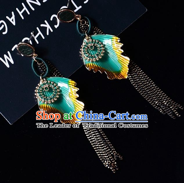 European Western Bride Vintage Tassel Green Earbob Accessories Renaissance Earrings for Women